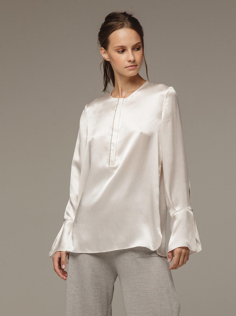 Женская белая блузка из 100% шелка - фото 1