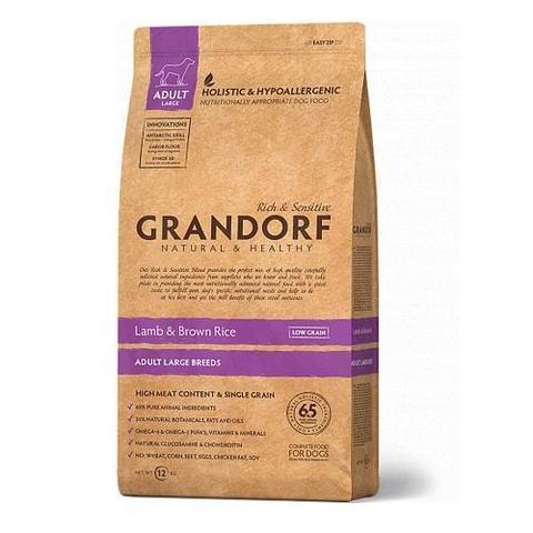Сухой корм для собак Grandorf гипоаллергенный, при чувствительном пищеварении, ягненок, с бурым рисом 12 кг (для крупных пород)