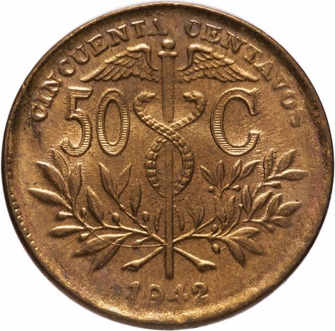 50 сентаво Боливия. 1942 год. UNC