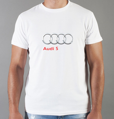 Футболка с принтом Ауди S (Audi S) белая 0043