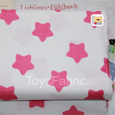 Ткань хлопок Польша П206 Розовые округлые звезды (80х50см)