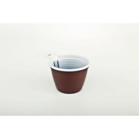 Чашка одноразовая пластиковая коричневая/белая 180 мл 50 штук в упаковке