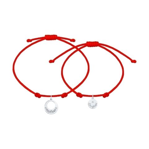 94050448- Парный браслет-красная нить с подвесками
