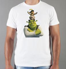 Футболка с принтом мультфильма Шрек (Shrek)  белая 007