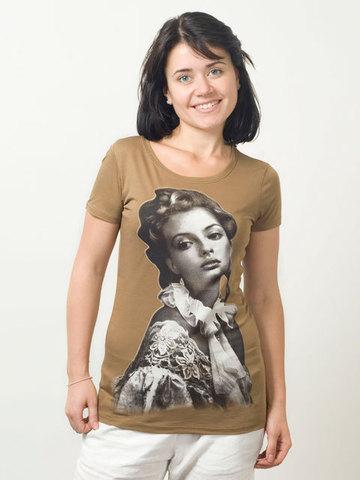 1822-2 футболка женская, светло-коричневая