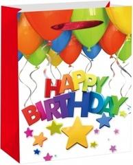 Пакет подарочный, С Днем Рождения!  (разноцветные буквы), 24*18*9 см, 1 шт.