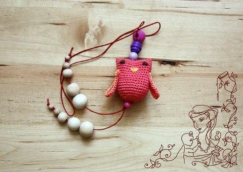 Игрушка-грызунок Сова розовая