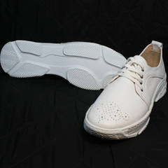 Летние туфли кроссовки кожаные женские Derem 18-104-04 All White.