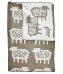 Одеяло, KLIPPAN, Барашки, Эко-шерсть, Бежевый и белый, 90 х 130 см