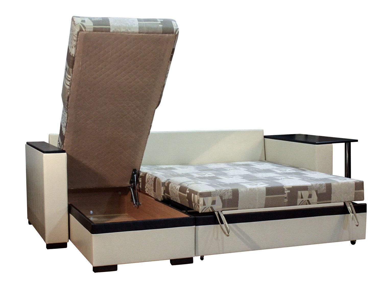угловой диван-кровать Карелия-Люкс 2я2д со столом, ящик для белья