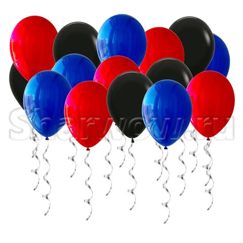 Воздушные шары под потолок Черный, синий и красный зеркальный