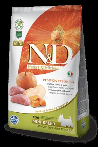 купить Farmina N&D Pumpkin Boar & Apple Adult Mini сухой беззерновой корм для собак мелких и каликовых пород кабан яблоко тыква