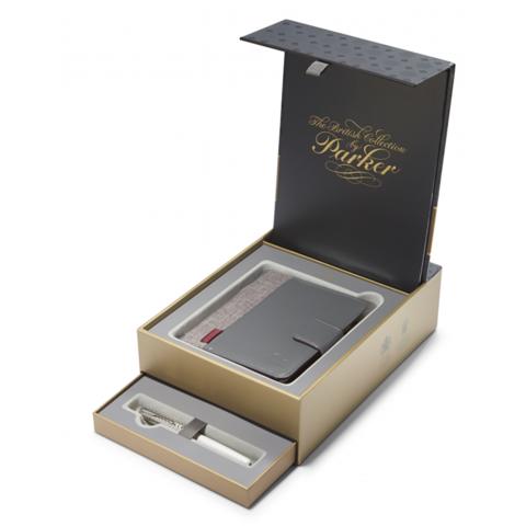 Набор подарочный Parker Sonnet - Premium Metal & Pearl CT, перьевая ручка, F + блокнот и органайзер