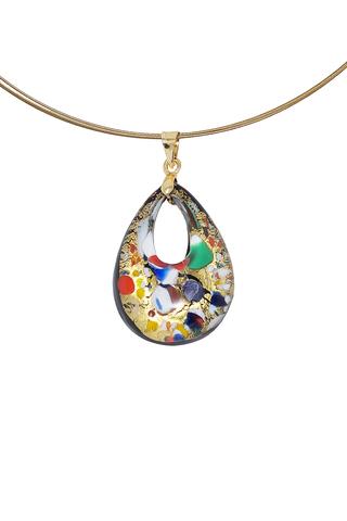 Кулон Арлекино золотистый малый из муранского стекла