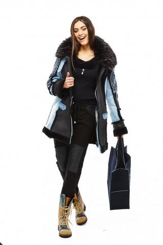 Пальто синее с воротником Elisa Cavaletti арт. EJW188016300