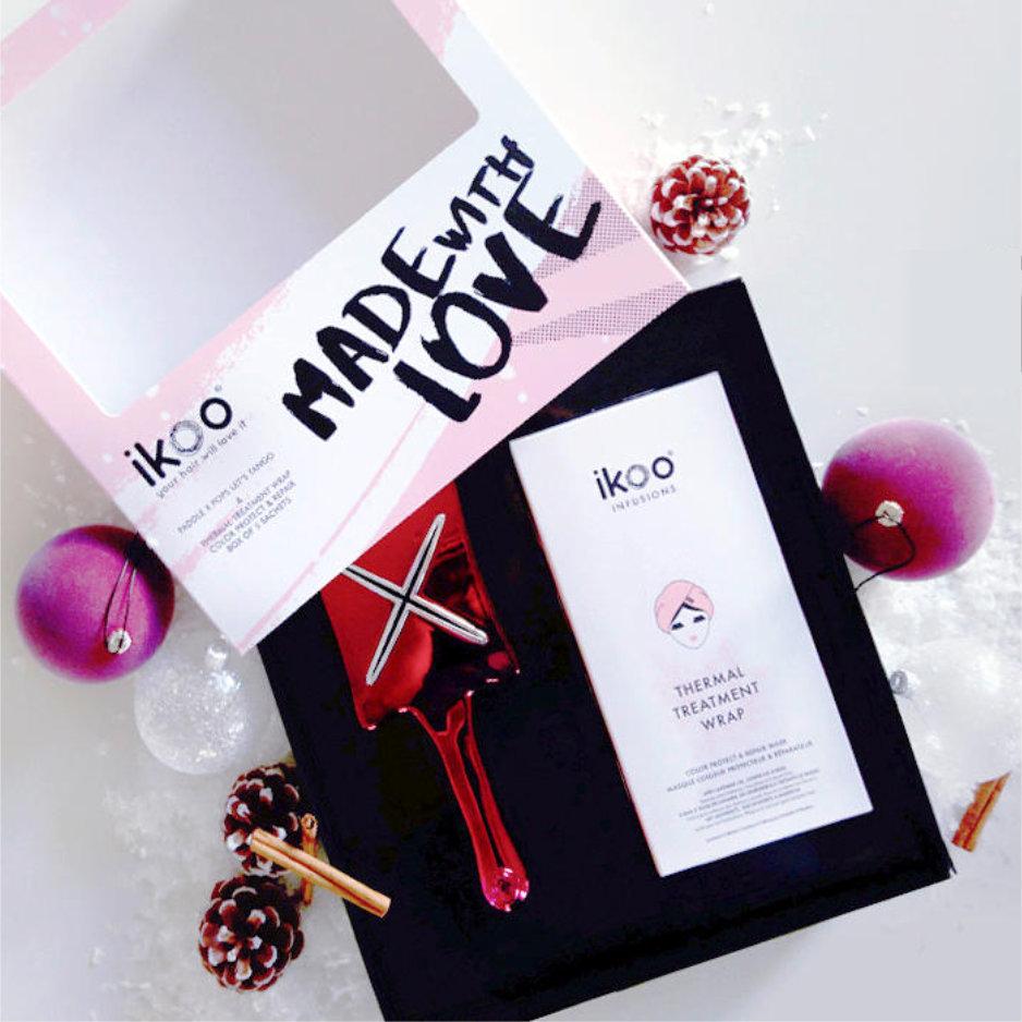 ikoo Gift box - Repair Wrap & paddle X pops let's tango   Набор ikoo: Расческа для сушки феном и 5 термальных масок-шапочек