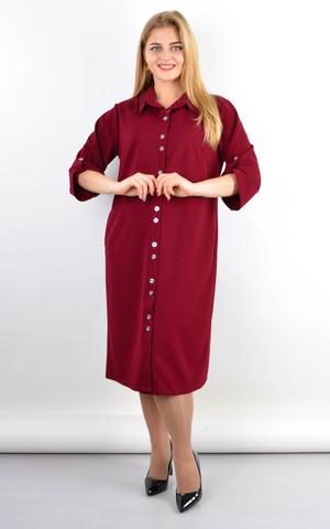 Анита. Удлиненное платье-рубашка плюс сайз. Бордо.