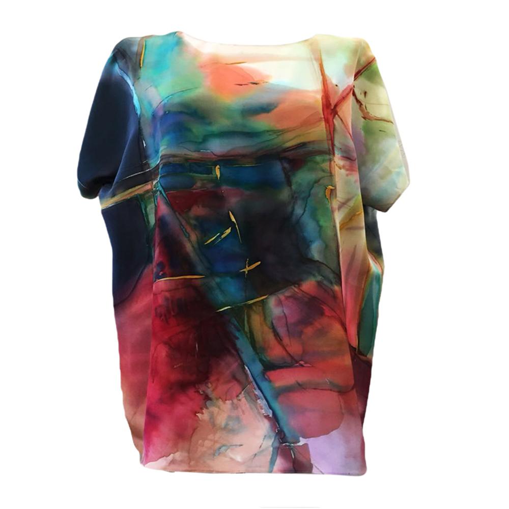 Шелковый топ ручной росписи батик