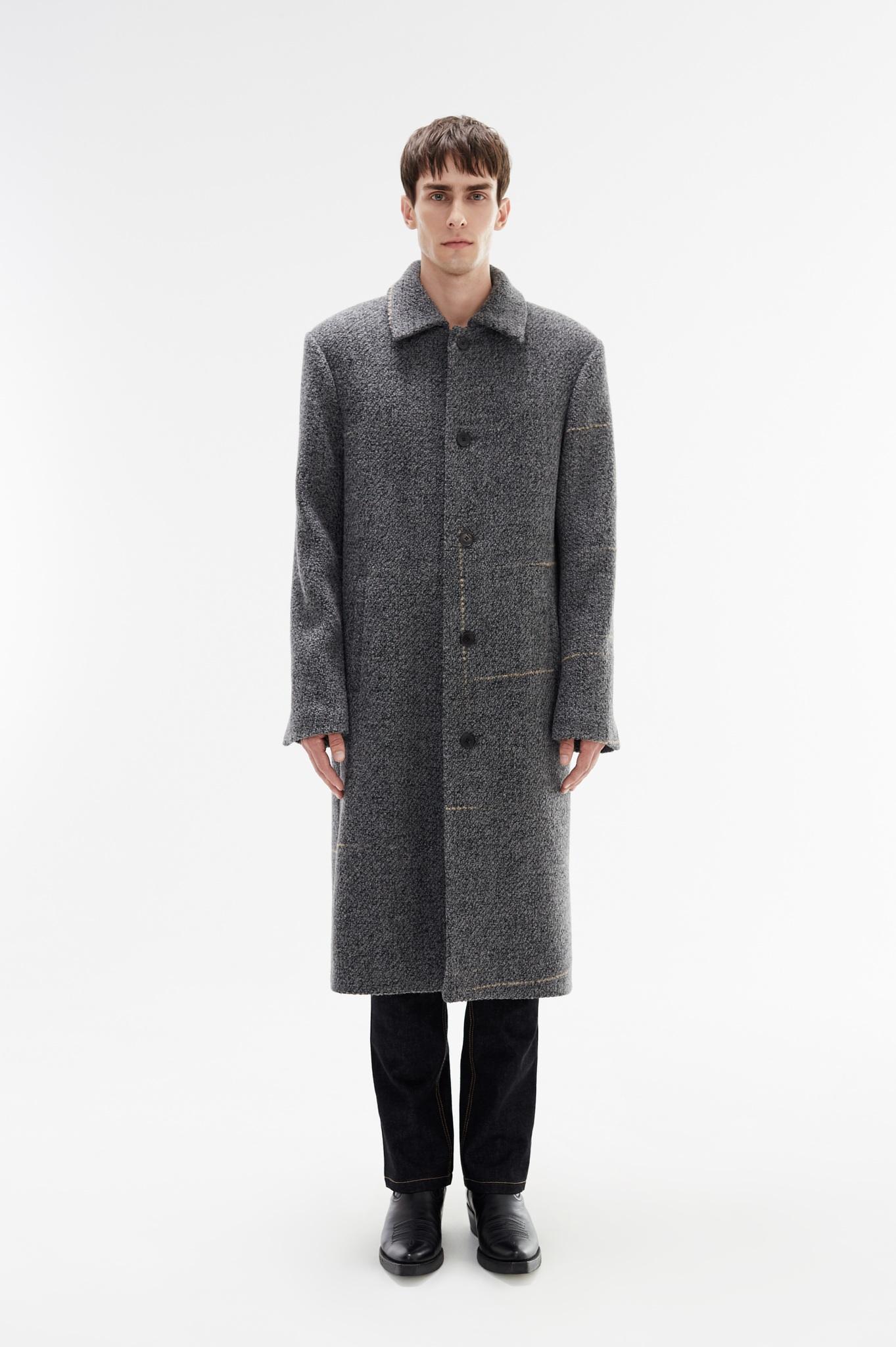 Пальто однобортное с выделенными плечами/gray