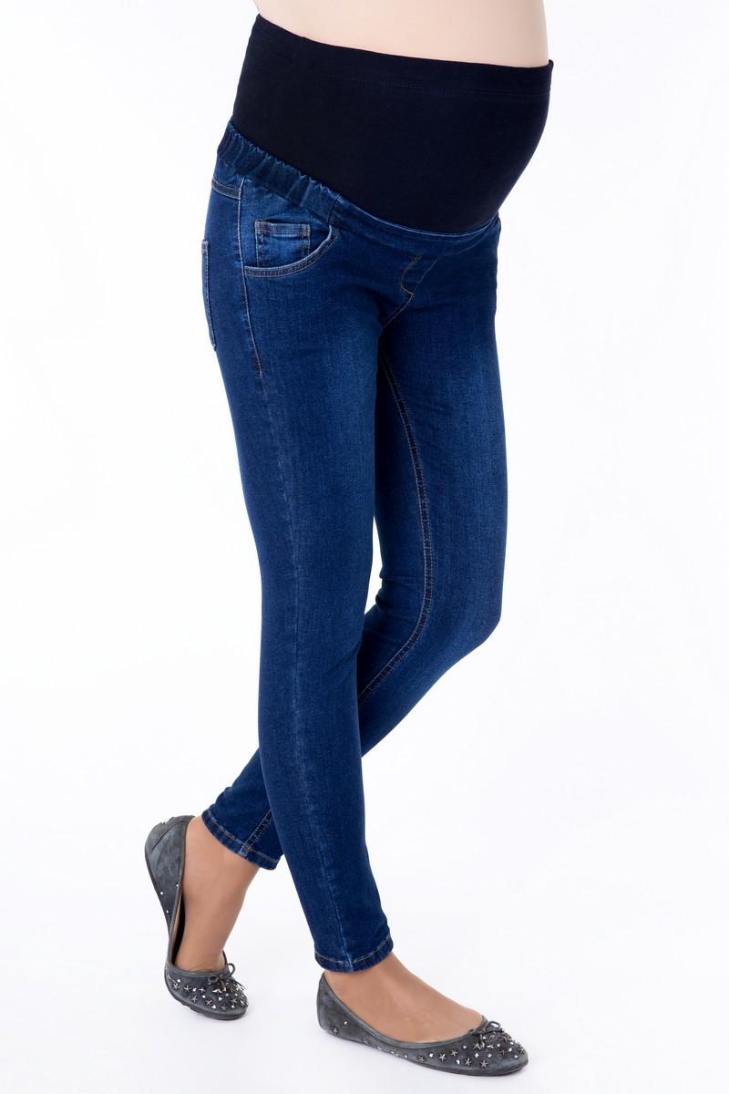 Фото джинсы-скинни для беременных GEMKO, укороченные, с высокой трикотажной вставкой от магазина СкороМама, синий, размеры.