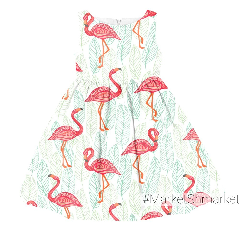 Розовые фламинго на фоне листьев. TROPICANA. (Дизайнер Irina Skaska)