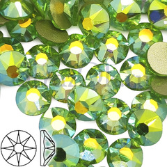 Купить клеевые стразы Xirius Peridot AB зеленые 8+8