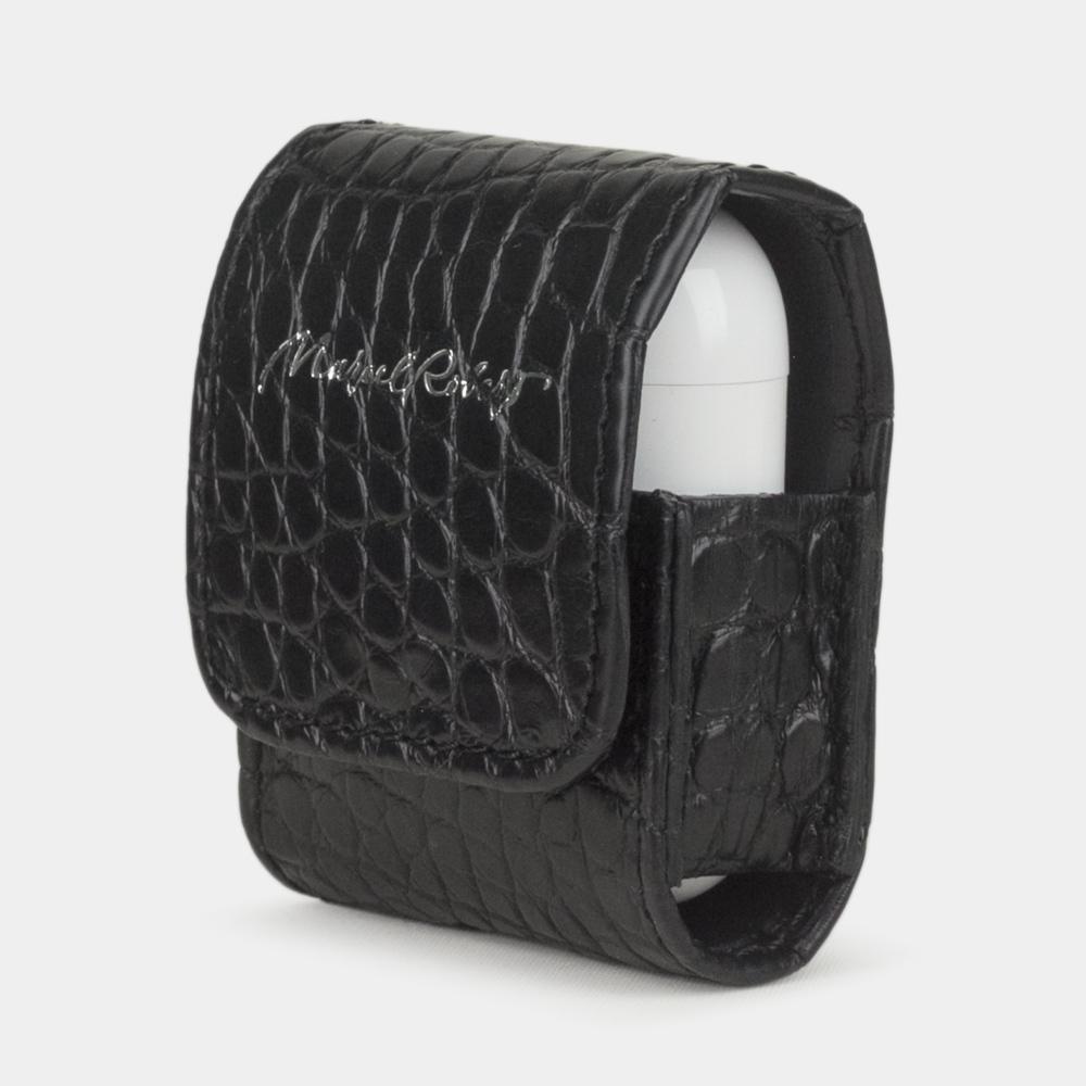 Чехол-держатель для наушников Petit Bisness из натуральной кожи аллигатора, черного цвета