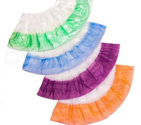 Бахилы двойные (бело-гол., зел., оранж., фиол., желт.) 50 шт.