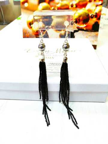 Серьги-каскад бисерные черные