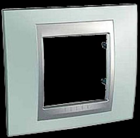 Рамка на 1 пост. Цвет Флюорит-алюминий. Schneider electric Unica Top. MGU66.002.094