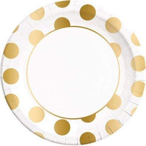 Тарелки большие горошек Gold