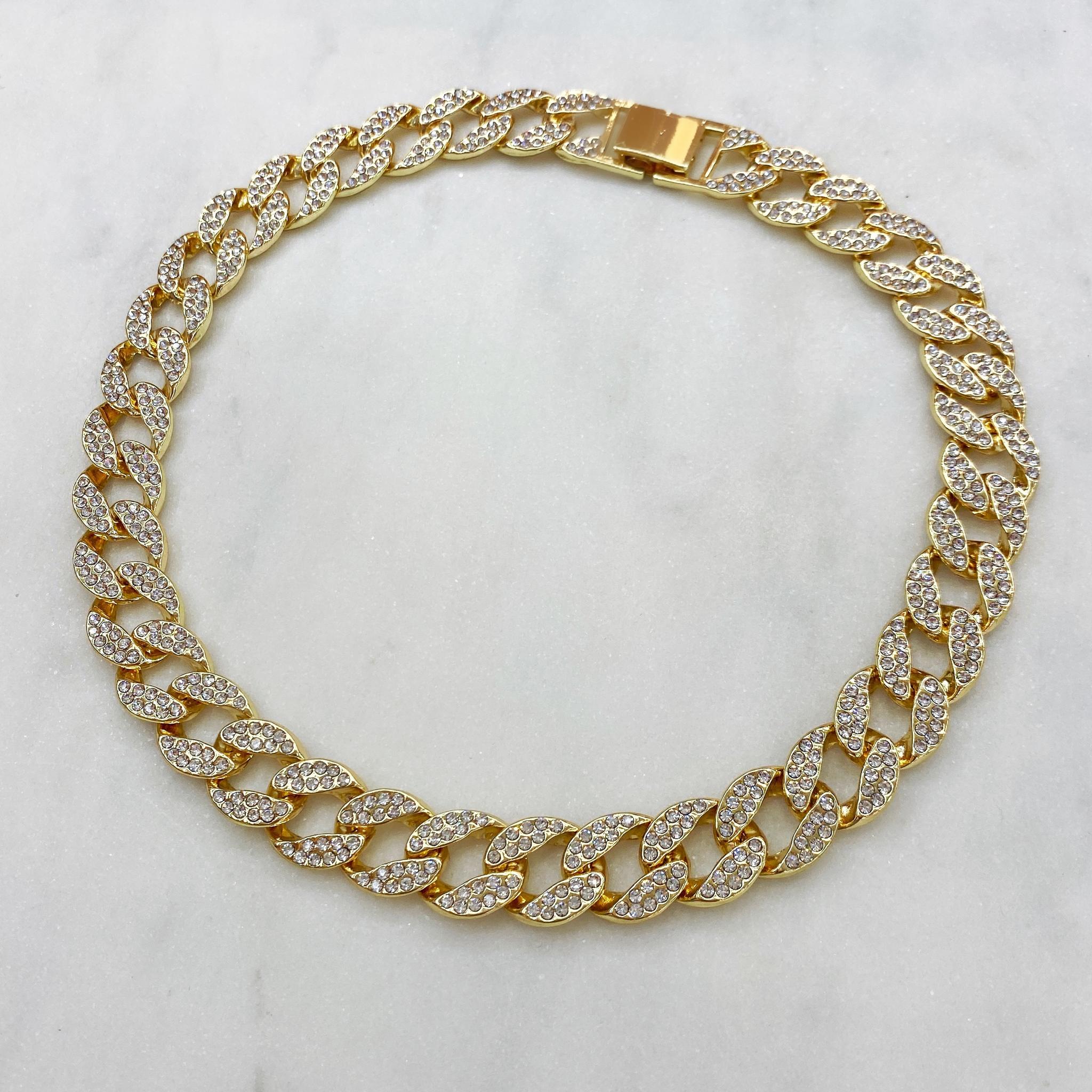 Колье-цепь с фианитами 40 см (золотистый)