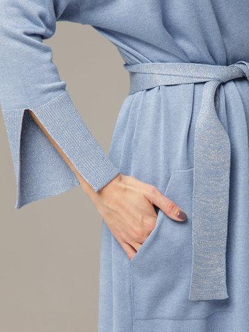 Синий кардиган из струящегося шёлка с кашемиром - фото 5