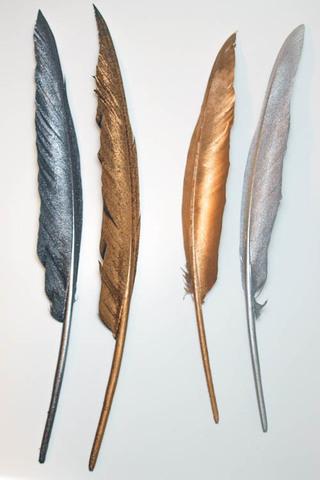 Перья гуся декоративные 25-30 см. металлик (цена за 1 шт.) (выбрать цвет)