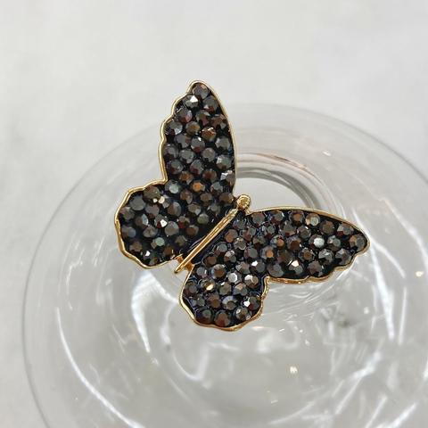 Брошь Бабочка малая с кристаллами (серый)