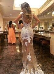 Mac Duggal 61844 Платье в пол, лиф и до середины бедра украшено нежной вышивкой и камнями, юбка длинная, прозрачная с элементами кружева