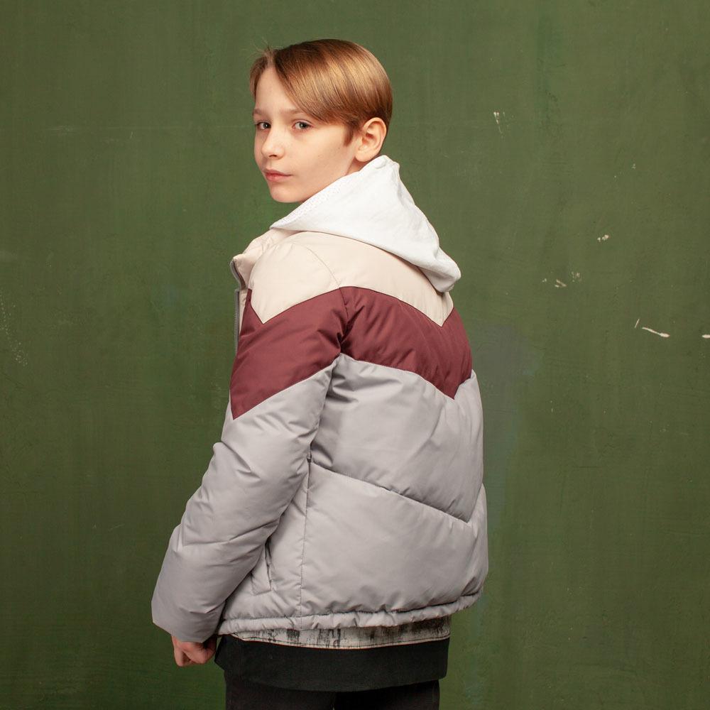 Дитяча демісезонна сіра куртка з водовідштовхувальної плащової тканини