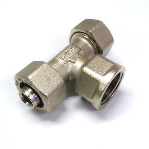 Тройник обжимной для металлопластиковых труб  16 *1/2 *16  внутренняя резьба SD Plus