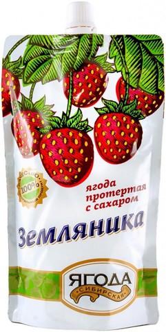 """Земляника протертая с сахаром """"Сибирская ягода"""" ГОСТ 280 г"""
