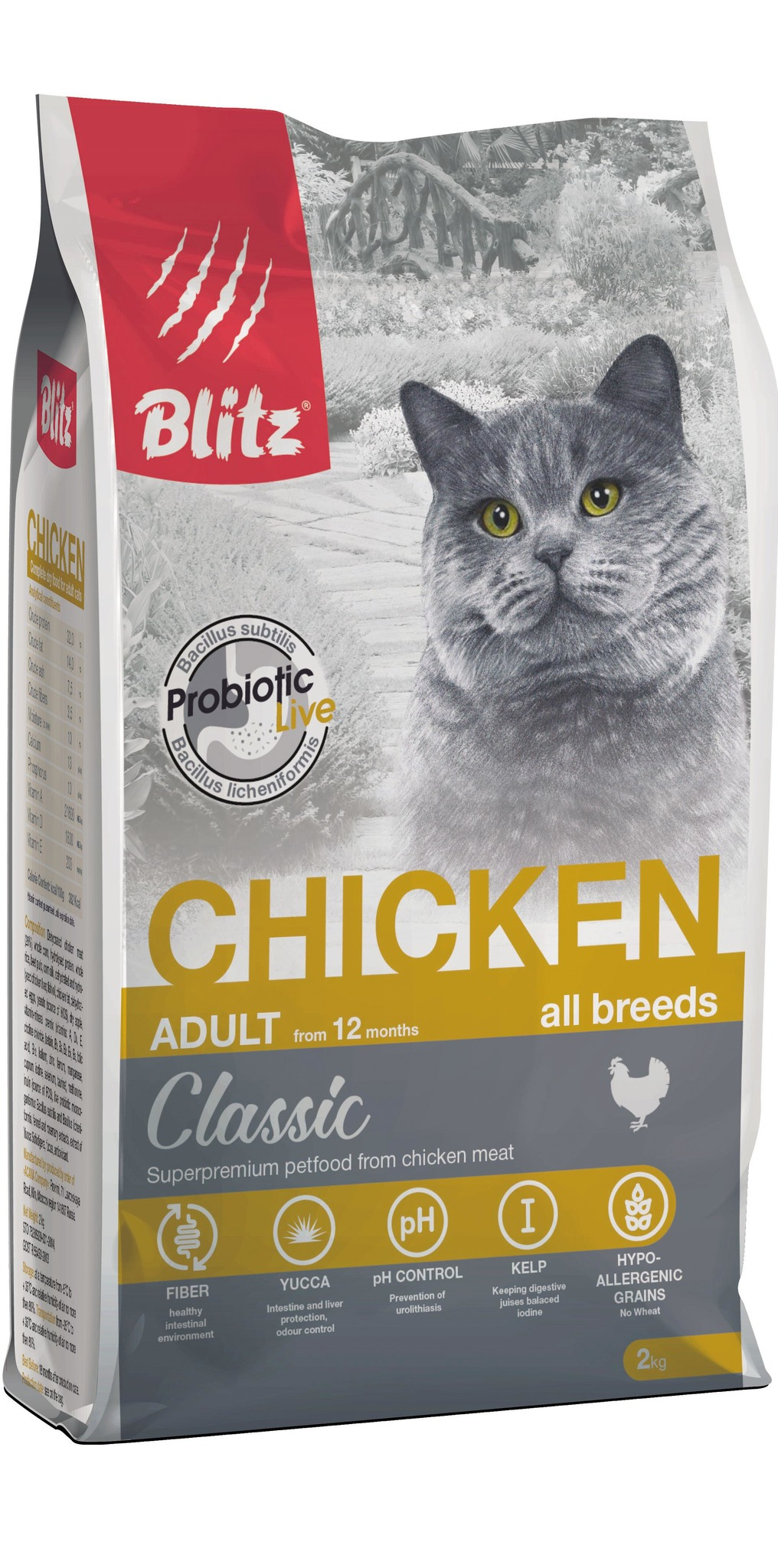 купить Blitz Adult Cats Chicken сухой корм для взрослых кошек с курицей 2 кг