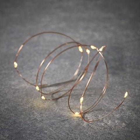 Гирлянда на батарейках Luca Lighting теплый белый свет на медном проводе (10 ламп, длина гирлянды 100 см)