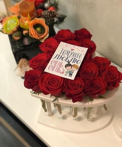 Розы в деревянной рамке Сердце  #20567