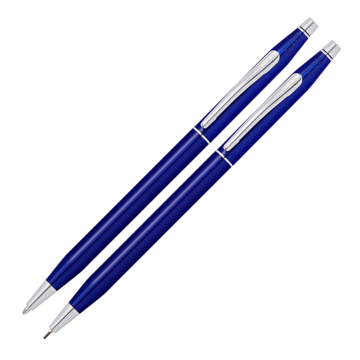 Набор подарочный Cross Classic Century - Translucent Blue Lacquer, шариковая ручка + карандаш