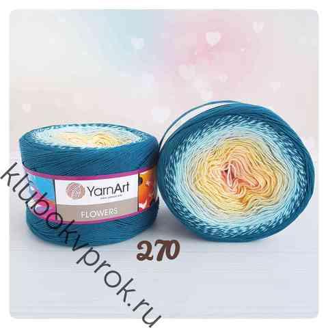 YARNART FLOWERS 270, Изумруд/голубой/персик
