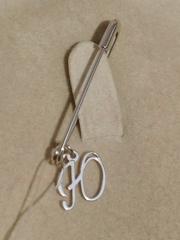 Брошь- булавка из серебра с буквой Ю