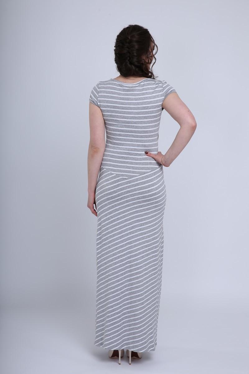 Платье для беременных и кормящих 08729 серый меланж/белый