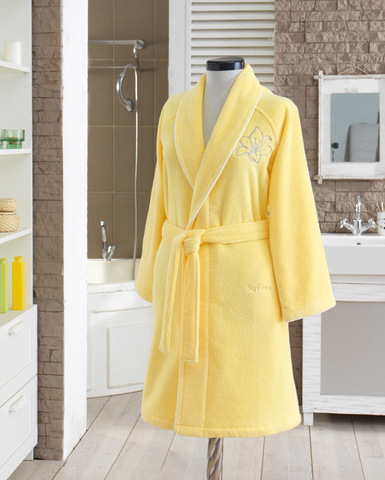 Короткий махровый халат LILIUM SALYAKA ярко-желтый