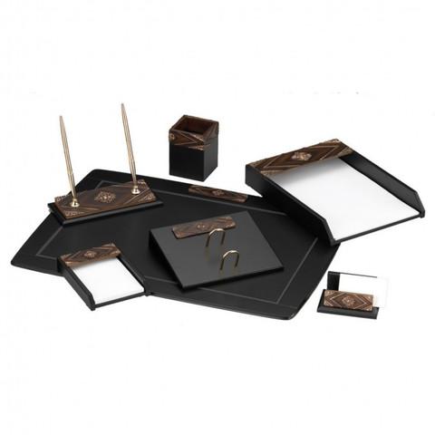Настольный набор Good Sunrise W6AQ-1/C (7 предметов) камень МДФ/искусственный камень черный/коричневый