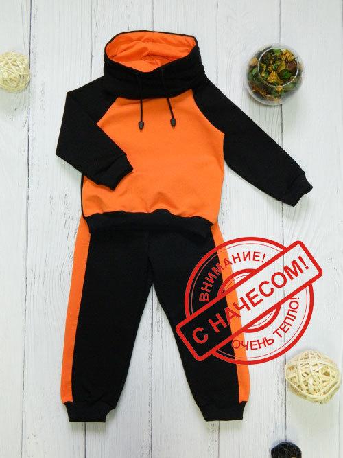 Костюм теплый 3013н, черно-оранжевый