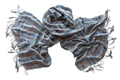 Женский хлопковый серо-голубой палантин (0554 PAL 2)